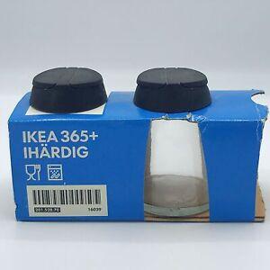 Set of 2 IKEA 365+ Glass Spice Jar Black Plastic spoon and shaker lids