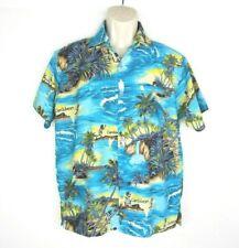 Rima Hawaiian Shirt Mens Size Medium Button Up Blue Yellow Jamaican Caribbean