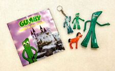 Vintage Gumby Keychain, Book, Pokey,  & More - Rubber Bendable, 1989 Gumby Book