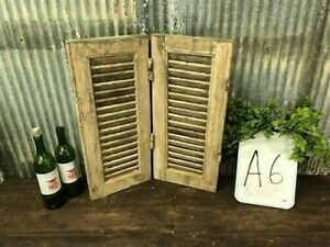 Small Antique Farmhouse Shutter, Natural Wood Shutter Architectural Salvage A6,