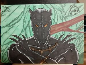 Original Black Panther 2 of 2 Puzzle  Sketch Card Set by Nate Rosado