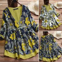 ZANZEA Womens Long Sleeve Button Down Floral Tops False Two Piece Shirts Blouse