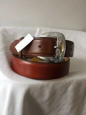 JUSTIN TWO Tone LEATHER WESTREN BELT SZ.34 NWT  #C10219 Made In USA
