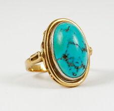 Klassischer Ring mit echtem Türkis, 585 Gelbgold, Größe 21 x 15 mm, 7,5 Gramm