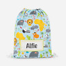 Personalised Wild Safari Animals Kids PE Swimming School Children Drawstring Bag
