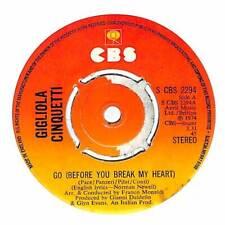 """Gigliola Cinquetti - Go (Before You Break My Heart) - 7"""" Record Single"""