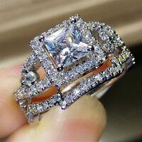 2PCS Womens Gemstone CZ Wedding Engagement Ring Set Bride Band Rings Size 6-10