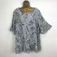 NEW Italian Tunic Top Grey Leaf 100% Cotton Lagenlook Plus UK Size 16 18 20