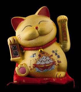 Große Spardose Katze Japanische Keramik 21cm Maneki Neko Bonheur Glück 408