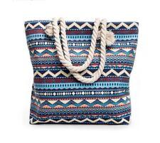 Women's Shoulder Bag Casual Bohemian Styles Summer Beach Big Tote Striped Canvas
