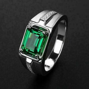 Men's Engagement & Wedding Solitaire With Accent Ring 14K White Gold 2Ct Emerald