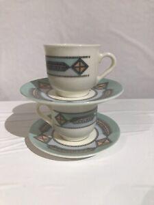 Acropal France Demitasse Vintage Espresso Cup And Saucer 1970 Art Deco Set of 2