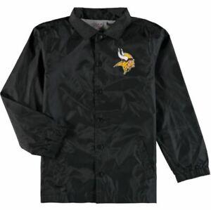 🏈 Minnesota Vikings NFL Black Bravo Coach Jacket Youth Size XL 18 NWT 🏈