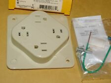 NEW OLD STOCK HUBBEL 4 PLEX OUTLET IVORY 15 A 2 POLE 3 WIRE GROUNDING