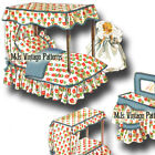 """Vtg 50s Ginny Wendy Muffie Pattern Doll House Bedroom Furniture ~ 7"""" 8"""" 9"""" dolls"""