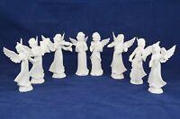 Vintage LOT 8 Dresden White Porcelain ANGEL BAND Figurines Crossing Swords Mark
