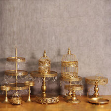 12Pcs Antique Cake Stand Round Cupcake Stands Metal Dessert Display Crystal pop
