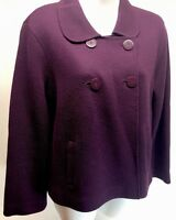 TALBOTS DEEP PURPLE DOUBLE BREASTED WOOL BUTTON FRONT Short JACKET Petite Medium