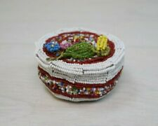 Traditional Antique Native North American Beaded Handmade Beadwork Trinket Box