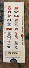 1976 Southeastern Conference Pulltab Football Schedule JSU And JHS