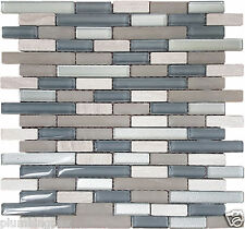 Wooden Beige Marble, Clear Taupe Blue Polished & Frosted Glass Mosaic- 1 Sheet