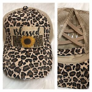 Blessed Mom Sunflower Leopard Criss Cross Pony Tail Back Distressed Boutique