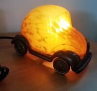 Tin Chi Volkswagen VW Beetle Lamp Desktop Rare Iron Frame Amber Glass Dome