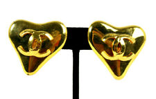 CHANEL 93P Vintage Gold Metal Logo HEART Motif Clip-On Earrings
