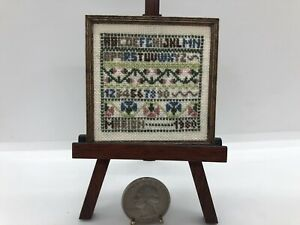 Dollhouse Miniature Vintage Handmade Tiny Embroidery Sampler Framed By Marion 80