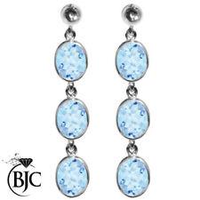 Orecchini di lusso blu ovale in argento sterling