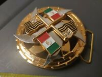 Mexico Mexican American Flag Red White Green Gold Fidget Spinner Belt Buckle