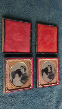 """RARE sequential pair Post Mortem Ambrotypes 1/6 Plate 2-3/4"""" x 3-1/4"""""""