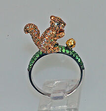 18k BROWN & WHITE DIAMOND SAPPHIRE GARNET BABY SQUIRREL MOUSE ANIMAL NATURE RING