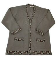 Uludag Trika Turkey Brown Open Front Cardigan Sweater Soft Thick Heavy Sz XL