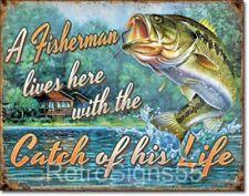 TIN SIGN B653 Bait Catches Fishing Boat Bait Retro Box Rustic Fish Decor