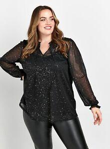 Evans Womens Black Glitter Mesh Top Sequin Loose Fit Shimmering Shirt Blouse