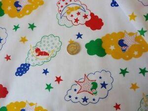 Children print light weight summer teddy cloud moon stars print fabric