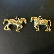 vtg pair of heavy horse, brass pendants nice gauge working shire type draft cart
