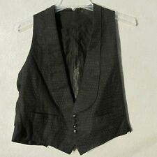 V7089 Vintage 1920's Small Black Metal Button Up Fabric Covered Vest Back Belt
