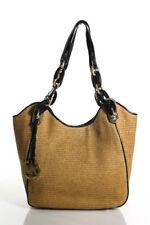 Michael Michael Kors Brown Patent Leather Trim Medium Double Strap Tote Handbag