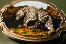 """Bear grizzly Black belt buckle Scenery 3.1x2.4""""  Full Metal Outdoors USA Seller"""