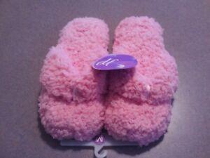 Dearfoams Pink Plush Slippers, Flip Flop Thong Style Size M (6.5-7.5)