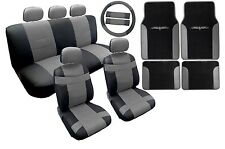 18PC Synthetic Leather Black Gray Car Seat Covers Steering Wheel Floor Mats HS