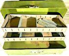 "Vintage 16"" metal Green Simonsen Fishing Tackle Box Rustic cork lined 2 shelves"