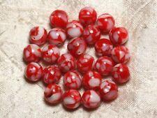 10pc - Perles Nacre et Résine - Boules 10mm Rouge et Blanc  4558550015792