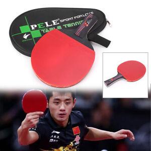 Table Tennis Racket Ping Pong Paddle Bat Long Short Handle & Bag Carbon Fiber