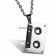 "Nostalgic Punk Rock Music Tape Pendant Stainless Steel Mens 22"" Chain Necklace"