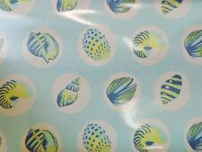 Tula Pink Shells on Light Blue Aqua Laminated Cotton 1 yard 56 inches wide