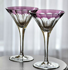 2 Faberge Grand Duke Amethyst Purple Cut to Clear Crystal Martini New Signed