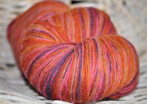 100% Schurwolle Tücherwolle Schafwolle Wolle Lace Strickgarn handgefärbt *512*